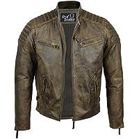 Chaqueta para hombre, de piel suave, corte ajustado, estilo retro urbano, color marrón lavado Marrón marrón Large