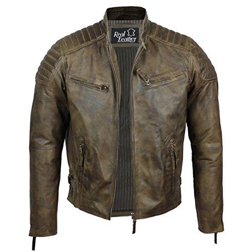 Herren Retro Biker-Jacke aus weichem Echtleder, Slim Fit, verwaschenes Braun Gr. Large, braun