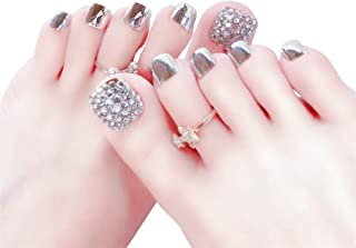 24pcs French 3D Short Fake nail For Foot Toenails Metallic Pre-design False Toenails Full Cover