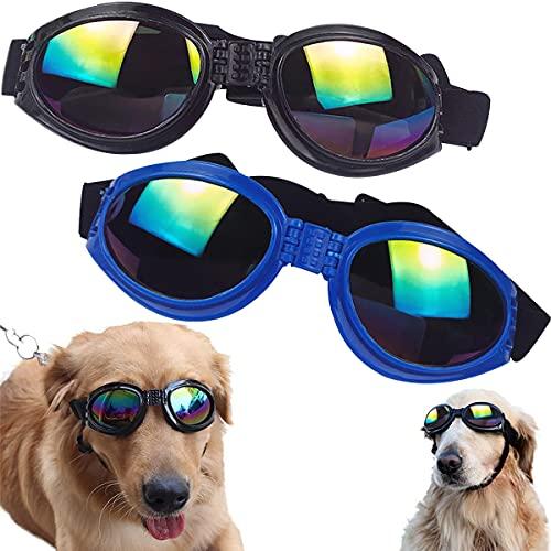 Occhiali Per Cani Tomicy Occhiali da Sole per Cani Anti UV, Occhiali Per Cani Antivento E Impermeabili, Occhiali di Sicurezza per Cani Regolabile, per Cani di Taglia Piccola Media Blu, Nero 2 Pezzi