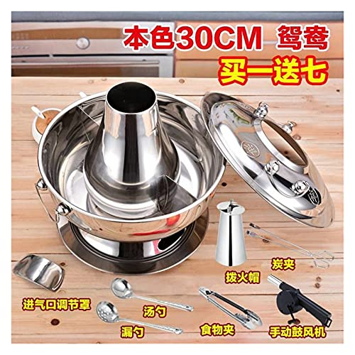 Household Vintage Charcoal Hot Pot Kitchen Red Copper Charcoal Stainless Steel Copper Stove Hot Pot Silver Copper Bronze Titanium (Color : Silve double)