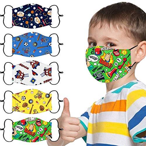 5 Stück Mundschutz Kinder Multifunktionstuch 3D Cartoon Druck Maske Animal Print Atmungsaktive Baumwolle Stoffmaske Waschbar Mund-Nasenschutz Bandana Halstuch für Jungen Mädchen (E)