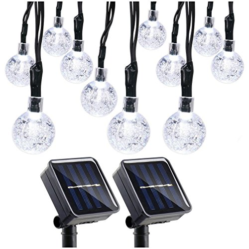 Qedertek 2 Pack Globe Outdoor Solar String Lights, 19.7ft 8 Modes 30 LED Solar Globe Lights Outdoor for Home, Patio, Lawn, Garden, Party and Holiday Decoration(Cool White)