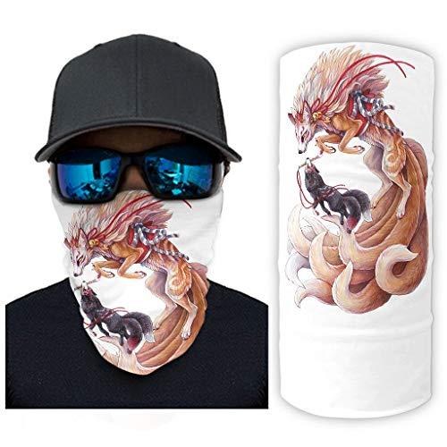 weedlishop Balaclava Face Mask Vintage Japanese Nine Tailed Kitsune Paint Print Magic Headband Gaiter Ultra Breathable White OneSize