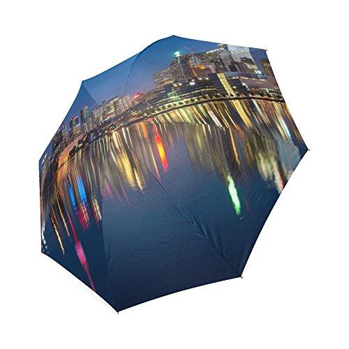 Shanghai Oriental Pearl tragbar Sonnenschirm winddicht Automatische KOMPAKT Regen Reise Regenschirm