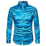 EULAGPRE Camisa de Seda Hombres Satinado Suave Hombres Solido Negocio Chemise Homme Camisa de Esmoquin