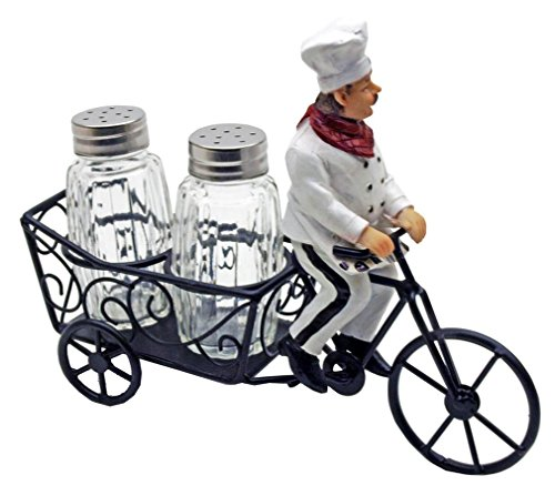 1 X Bicycle Riding French Chef Salt And Pepper Shaker Set