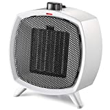 HOME_CHOICE Small Ceramic Space Heater Electric Portable Heater with Adjustable Thermostat and Overheat Protection ETL Listed for Home Office and Kitchen Indoor Use,750W\/1500W (White)