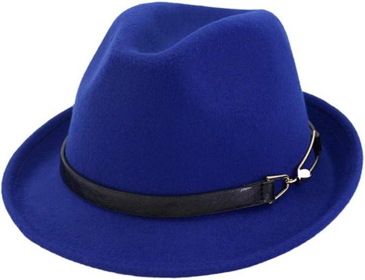 LHZUS Hats Elegant Cotton Panama Fedora Hat Jazz Hat with Black Belt Metal Buckle Men's Ladies Casual Outdoor Accessories (Color : E Blue, Size : 56-58)