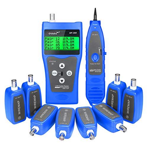 Fesjoy Probador de Cable de Red LCD Rastreador de Cable RJ11 RJ45...
