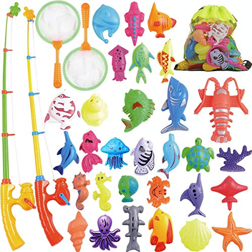 CozyBomB Magnetic Fishing Toys Game Set for Kids for Bath Time Pool Party with Pole Rod Net, Plastic Floating Fish - Toddler Education Teaching and Learning Colors Ocean Sea Animals (Large)