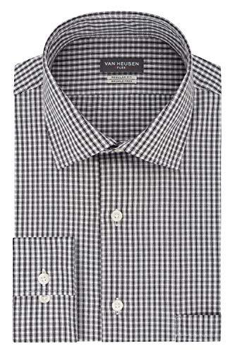 Van Heusen Herren Regular Fit Flex Collar Check Smokinghemd, Granit, S Hals 37 cm, Ärmel 81/84 cm