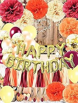 Fall Happy Birthday Decorations Wine Burgundy Gold Champagne Orange /HAPPY BIRTHDAY Balloons Pumpkin Birthday Party Decorations Burgundy Orange Yellow Balloons Fall Theme Birthday Party Decorations
