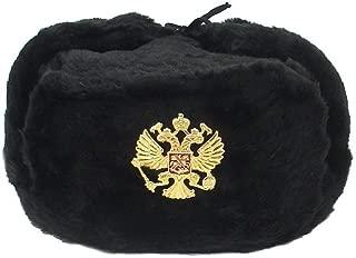 Russian Army KGB Military Fur Hat UshankaBLACK-L w/Imperial Eagle Crest Badge