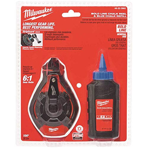 Milwaukee Electric Tool 48-22-3982 100 Ft. Bold Line Chalk Reel and Refill