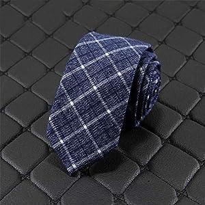 ネクタイ スタイリッシュコットンとリネンメンズネクタイ毎日紳士ネクタイビジネス衣料品 結婚式 入学式 卒業式 (色 : 青, Size : One size)