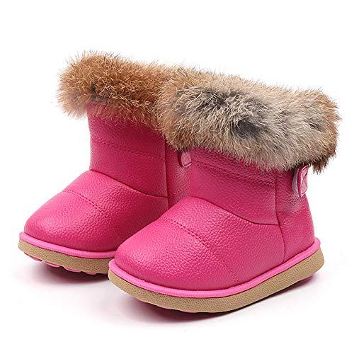 Toddler Baby Girls Boys Snow Boots Fall Winter Warm Shoes 1-6 Years Old,Fashion Kids Child Soft Flat Ankle Bootie (18-24 Months, Hot Pink)