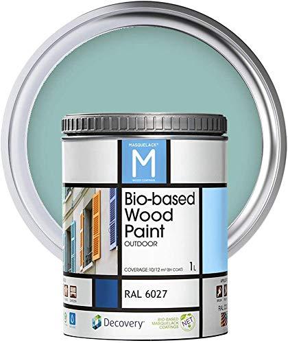 Peinture pour bois   Bio-based Wood Paint RAL 6027   1 L   Pour tous les types de bois   Peinture extérieure pour bois avec une finition semi-mat, chaude et soyeuse   Couleur Vert...