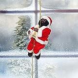 WYSRJ Santa Climbing Ladder, Electric Santa Claus Climbing Rope Ladder Decoration, Christmas Super Climbing Santa Plush Doll for Indoor Outdoor Decoration