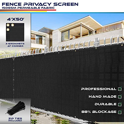 Windscreen4less Heavy Duty Privacy Screen Fence in Color Solid Black 4' x 50' Brass Grommets w/3-Year Warranty 150 GSM with Zip Ties (Customized