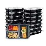 Redlemon Contenedores para Alimentos Reutilizables (21 Piezas) Tipo Bento Box, con Tapa Hermética y 3 Compartimentos, para Microondas, Congelador y Lavavajillas, Fáciles de Limpiar, Libres de BPA