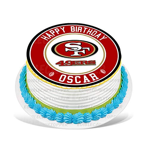 Cakecery San Francisco 49ers Edible Cake Topper Image Personalized Birthday Sheet Party Decoration Round