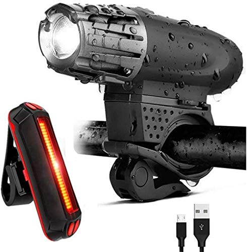 MEEY Bicycle Light Set Mountain Bike Lights Waterproof Rechargeable USB Front Light Headlight Taillight 360 ° rotatab.