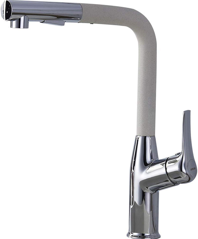JLY Bad Quarz Stein Waschbecken Single Slot Double Slot Wasserhahn Küchenarmatur Hot Cold Pull Wasserhahn,Metallic