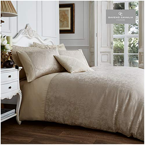 Gaveno Cavailia Jacqaurd VINCENZA Bed Set with Duvet Cover and Pillow Case, Polyester-Cotton, Mink, King
