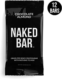 NAKED Chocolate Protein Bars - Only 7 Premium Ingredients, Made with Grass-Fed Whey Protein from Small Farms - Gluten Free Protein Bars, Soy Free, No GMOs, No Artificial Sweeteners - 12 Pack