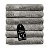 Lavish Touch 100% Cotton Melrose Towels Pack (Light Grey, 6 pc Hand Towels)