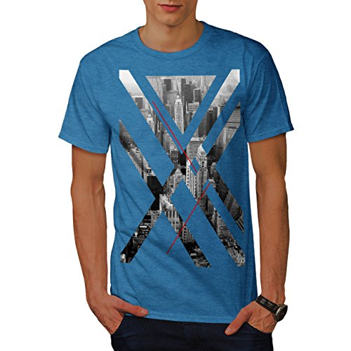 wellcoda City USA Abstract Mens T-Shirt, Urban Graphic Printed Tee Royal Blue L