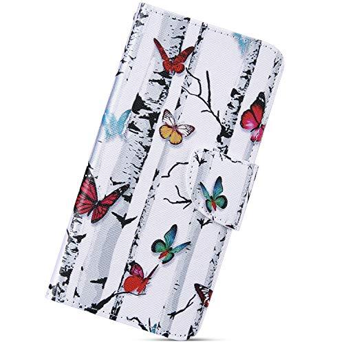 Urhause Kompatibel mit Huawei Mate 20 Hülle, Gemalt Wallet Flip PU-Handyhülle mit [Kartenslots][Magnetverschluss] Ständer Funktion mit Lanyard Stoßfeste Schutzhülle,Schmetterling Baum
