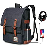 Junlion Zaino Vintage Zaino della Scuola Universitaria Daypack per Laptop Unisex Nero
