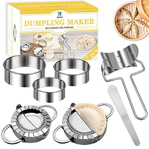 Dumpling Mold Set and Cutter,DOXILA 7 Piece Dumpling Maker Make Chinese Dumpling Pie Ravioli Empanadas Press Mold Kitchen Accessories