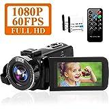 ビデオカメラYouTubeカメラ HD 1080P 60FPS 42MP 18デジタルズーム 3インチスクリーン ウェブカメラ ナイトビジョン タイムラプス&スローモーション検知 リモコン付属 バッテリー*2 日本語説明書