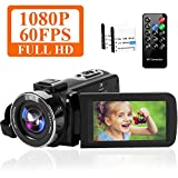 Camcorder 1080P 60FPS 42MP Video Camera 18X Digital Zoom 3.0'' HD Screen YouTube Camera with Remote Control and Two Batteries