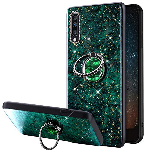Compatible avec Samsung Galaxy A70 Coque Glitter Brillante Strass Marbre Motif Silicone Gel TPU Antichoc Housse Etui avec Bling Diamant Support de Bague Bumper Case Galaxy A70,Vert