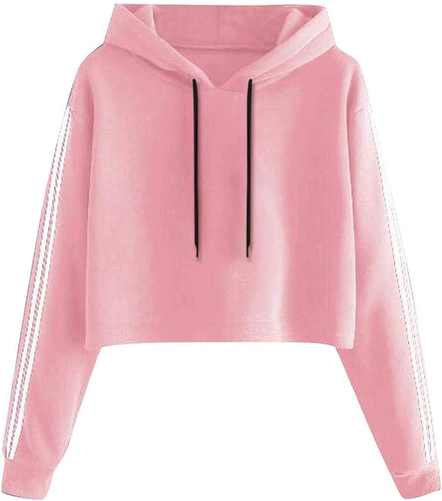 Jaqqra Hoodies for Women Teen Girls Cropped Striped Print Sweatshirt Long Sleeve Pullover Tops Cute Tunic Sweatshirts
