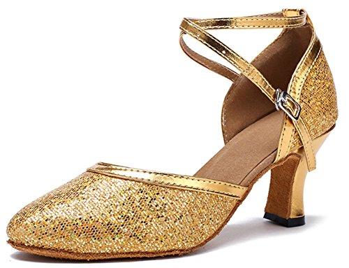 Honeystore Neuheiten Frauen Kunstleder Heels Moderne Einfarbig Tanzschuhe mit Pailletten Gold 34 CN