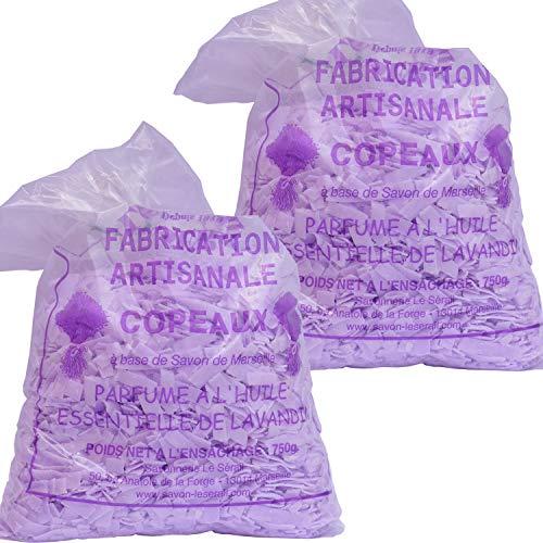 Lot de 2 copeaux de savon de Marseille parfumés lavande 750G (soit 1.5kg) - Lessive économique ! Paillettes de savon pour le linge délicat. Ecologique et naturel et artisanale