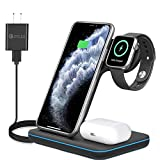 3 in 1 Wirless Charging Station for Apple iPhone Watch Airpods,Any warphone 15W Fast Wireless Charger for Apple iWatch 6/SE/5/4/3/2/1,AirPods 3/2/1, iPhone 11/12 Series/XS MAX/XR/XS/X/8/8 Plus