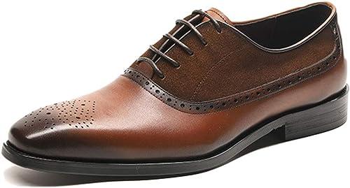 Zapatos Oxford para Hombre Comodidad marrón De Trabajo con Cordones zapatos De Traje De Charol De Primera Capa zapatos De Vestir De Cuero De Vaca Cuero Hecho A Mano De Negocios