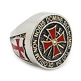BOBIJOO JEWELRY - Ring Ritter Orden Templer Mann Silbernes Kreuz Malta Rot Edelstahl - 23,9 (15 US), Edelstahl 316