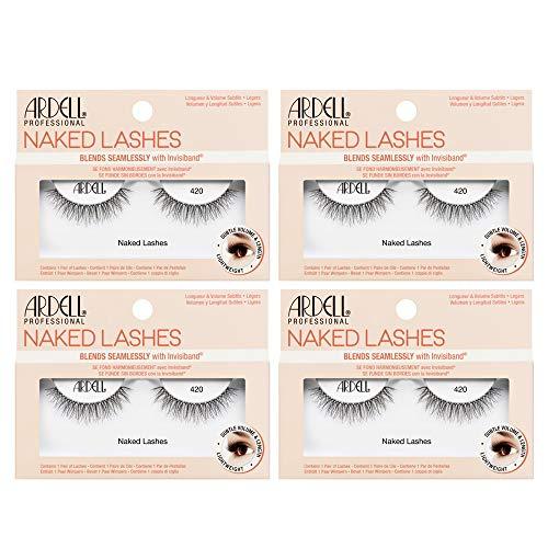 Ardell False Lashes, Naked Lashes 420 with Invisiband, 4 pairs