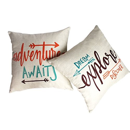 ULOVE LOVE YOURSELF Set of 2 Arrows Throw Pillow Case Cushion Cover Home Decorative Square Pillowcases 18×18 Inch (Adventure Awaits,Dream Explore Discover)