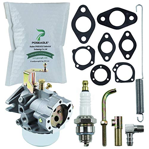 New Carburetor with Throttle Bore Choke Shaft Kohler 47-091-01-S Governor Spring and 271030-S Mounting Gasket Tune-Up Kit for Kohler K321 K341 Cast Iron 14hp 16hp John Deer Tractor Engine Carburetor