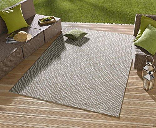 Teppich / moderner Teppich / Wohnzimmerteppich Outdoorteppich - für Balkon oder Terasse - für In und Outdor geeignet - der Hingucker zu Ihren Gartenmöbel - Karo Grau - ca. 80 x 200 cm