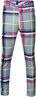 Allywit Mens Hip Hop Premium Slim Fit Track Pants - Athletic Jogger Patchwork Plaid Sweatpants Tapered Ankle Length Pants