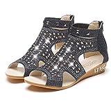 Mujeres Gladiador Sandalias cuña tacón Roma Zapatos Moda Tobillo Correa Sequin de Tela Bombas Sommer Peep Toe Zapatos